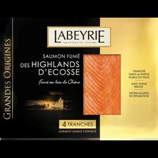 Saumon fumé grande origines Ecosse LABEYRIE, 4 tranches soit 130g