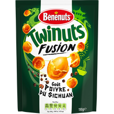 Cacahuètes goût poivre du Sichuan Twinuts Fusion BENENUTS, sachet de 150g