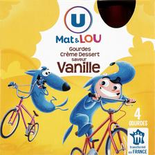 Crème dessert saveur vanille U MAT ET LOU, gourdes 4x85g, 340g
