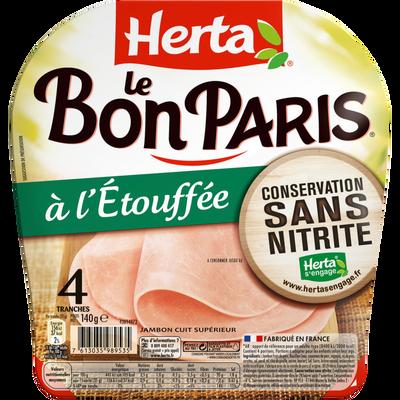 Jambon à l'étouffée conservation sans nitrites, Le Bon Paris HERTA, 4tranches, 140g