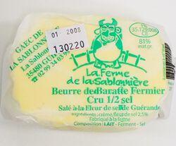 Beurre de baratte fermier cru 1/2 sel, FERME DE LA SABLONNIERE, 81%mg, 250g