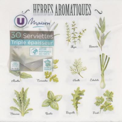 Serviettes U MAISON, 3 plis, en ouate, 33x33cm, herbes aromatiques, 30unités