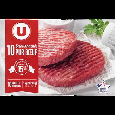Steaks hachés pur boeuf U, boîte de 10 unités de 100g
