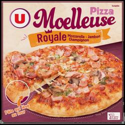 Pizza moelleuse Royale fromage jambon champignons surgelée U, 600g