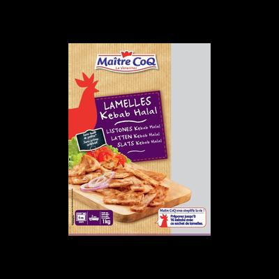 Lamelles kebab cuites halal MAITRE COQ, sachet de 1KG