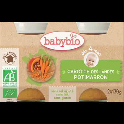Pot Carotte des Landes Potimarron BABYBIO, dès 4 mois, 2x200g soit 400g