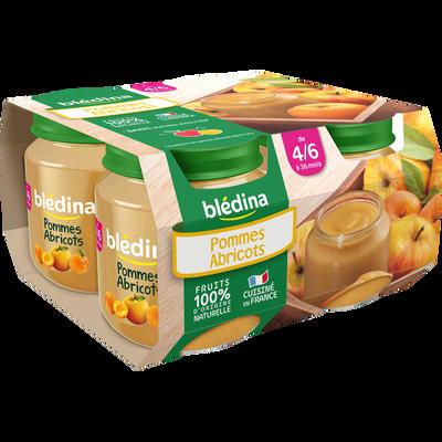 Petits pots infantiles pomme abricot BLEDINA, dès 4 à 6 mois, 4x130g