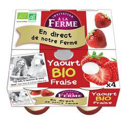 Yaourt bio fraise FERME PEARD 4x100g