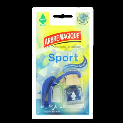 Flacon parfumé sport à suspendre ARBRE MAGIQUE, bouchon en bois pour 1diffusion continue du parfum