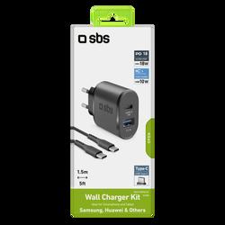 Kit chargeur secteur SBS usb c+câble type c 1,5m pd 18w