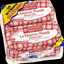 Beurre moulé demi-sel 80%mg PAYSAN BRETON 2x250g
