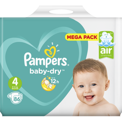 Couches baby dry 9-14kg megapack T4 PAMPERS x86