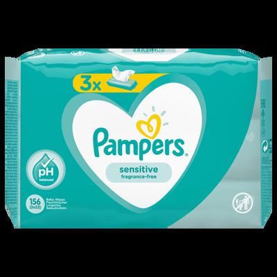 Lingettes sensitive PAMPERS, 3x52
