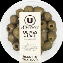 Olives vertes à l'ail Saveurs U, pots de 150g