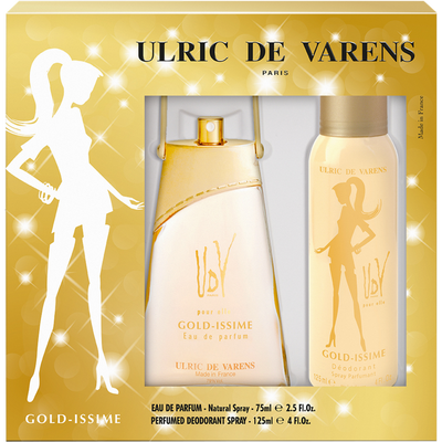 Coffret gold issime ULRIC DE VARENS, eau de parfum de 75ml + déodorantde 125 ml