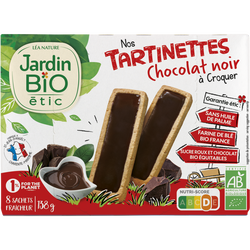 Tartinettes à croquer JARDIN BIO, Chocolat noir intense, x8 Sachet fraîcheur, 138g