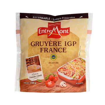 Entremont Gruyère De France Râpé Igp Au Lait Cru 32% De Matière Grasse Entremont, Sachet De 150g