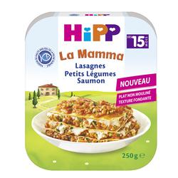 Plat complet pour bébé lasagnes petits légumes saumon Bio HIPP, dès 15mois, assiette de 250g