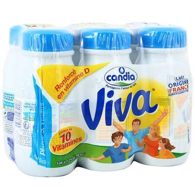 Lait demi-écrémé CANDIA VIVA, 6X25cl