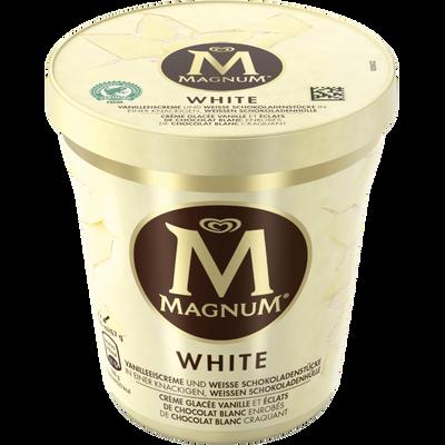 Crème glacée vanille avec du chocolat blanc MAGNUM, pot de 297g