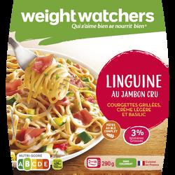 Linguine au jambon cru courgettes grillées, crème légère et basilic, WEIGHT WATCHERS, 290g