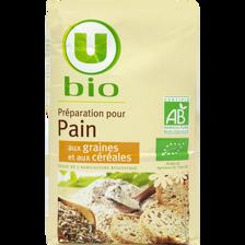 Préparation pour pain aux graines et aux céréales U BIO, paquet de 1kg