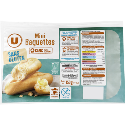 Mini baguettes U SANS GLUTEN, 150g