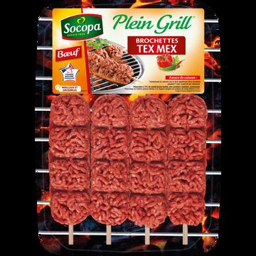 Socopa Brochette Au Boeuf Plein Grill Tex Mex, Socopa, 4 Pièces, Barquette, 400g