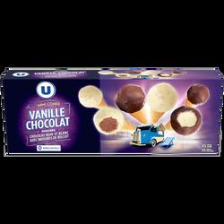 Minis cônes vanille chocolat U, x10 175g