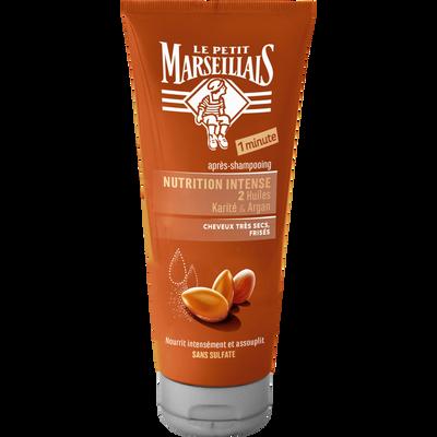 Après-shampoing pour cheveux très secs et frisés nutrition intense parfum karité & argan sans sulfate LE PETIT MARSEILLAIS, flacon de 200ml