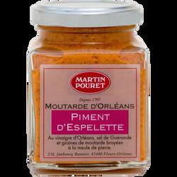 Moutarde d'Orléans au piment d'Espelette AOP et aux graines du Val deLoire MARTIN POURET, pot de 200g