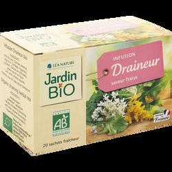 Infusion draineur saveur fraise JARDIN BIO, 20 sachets de 1,5g soit 30g