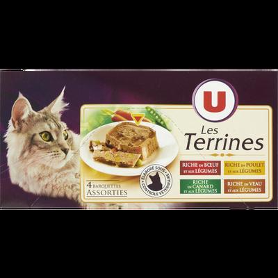 Terrines pour chat riche en boeuf, poulet, canard, veau et aux légumesU, barquette 4x100g
