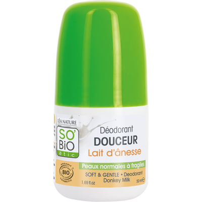 Déodorant douceur lait d'ânesse bio SO BIO, bille de 50ml