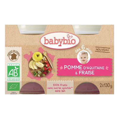 Pot Pomme Fraise BABYBIO dès 6 mois 2X130g