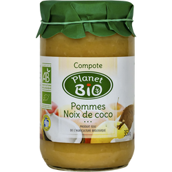 Compote pommes noix de coco PLANET BIO, 350g