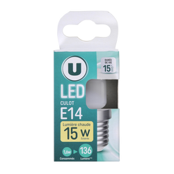 Led U, capsule, 15w, e14, opaque, lumière chaude