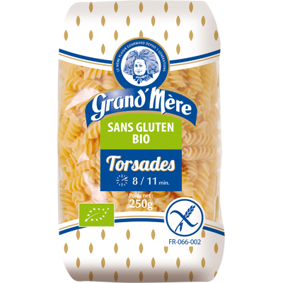 Torsades BIO sans gluten GRAND'MERE, sachet de 250g