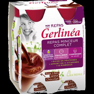 Repas minceur à boire goût chocolat GERLINEA, 4 bouteilles ...