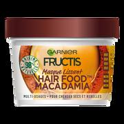 Garnier Masque Nourrissant À La Macadamia Pour Cheveux Secs Et Rebelles Hair Foods Fructis, Pot De 390ml