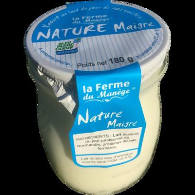 Yaourt nature maigre brassé lait du jour LA FERME DU MANEGE, pot en verre de 180g