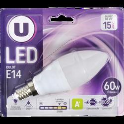 Ampoule LED flamme U, 60W, blanc chaud, culot E14, verre givré