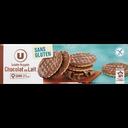 Sablés nappés chocolat au lait sans gluten U, paquet de 150g