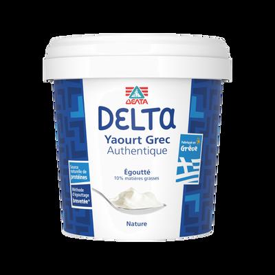 Yaourt grec nature DELTA, 10% de MG, pot de 1kg