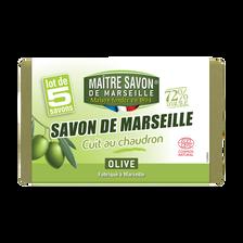 Savon de Marseille à l'huile d'olive sans huile de palme MAITRE SAVONDE MARSEILLE, 5x100g