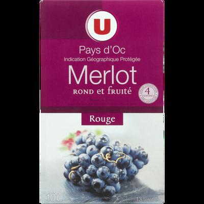 Vin rouge IGP Pays d'OC Merlot U, fontaine à vin, 10l