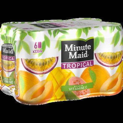 Jus de fruits tropicaux à base de jus de fruits concentré MINUTE MAID,pack 6x33cl