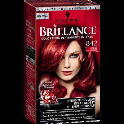 Coloration crème permanente BRILLANCE, rouge cachemire n°842