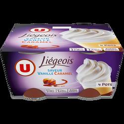 Dess.liégeois vanille s/lit caramel & crème fouetée U 4x100g