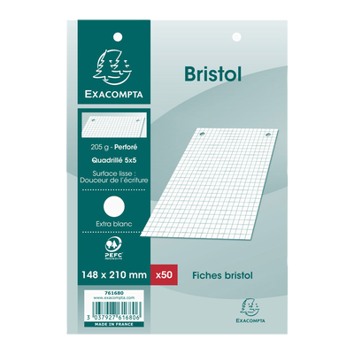50 fiches perforées BRISTOL, 5x5, 14,8x21cm, blanches